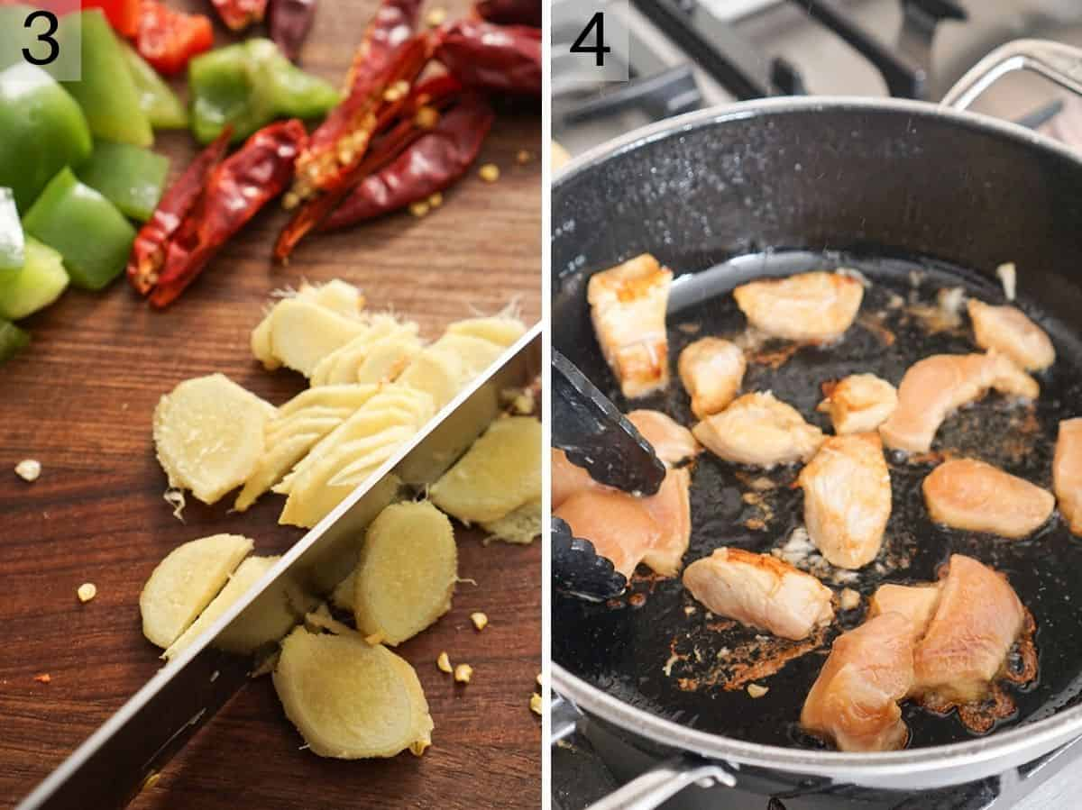 Two photos showing how to chop ginger and fry chicken