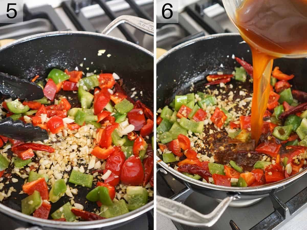 Two photos showing how to stir fry vegetables and add sauce to a skillet