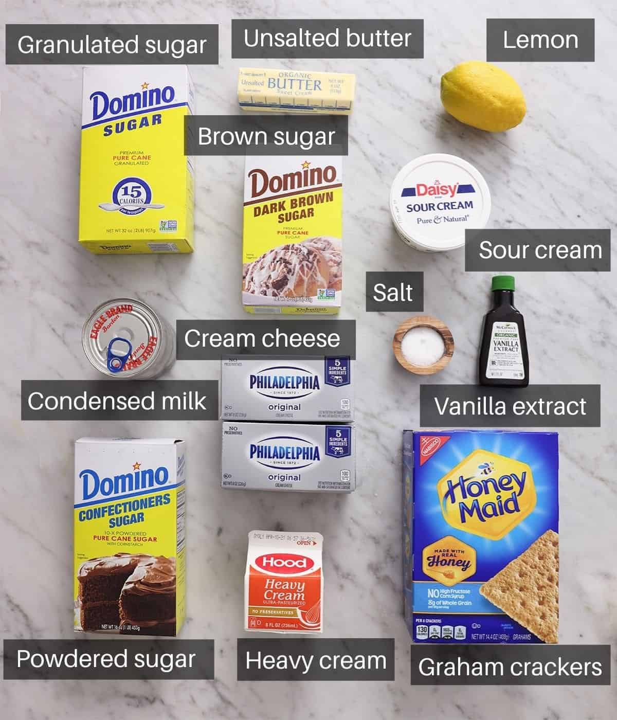 An overhead shot of all the ingredients you need to make no bake cheesecake