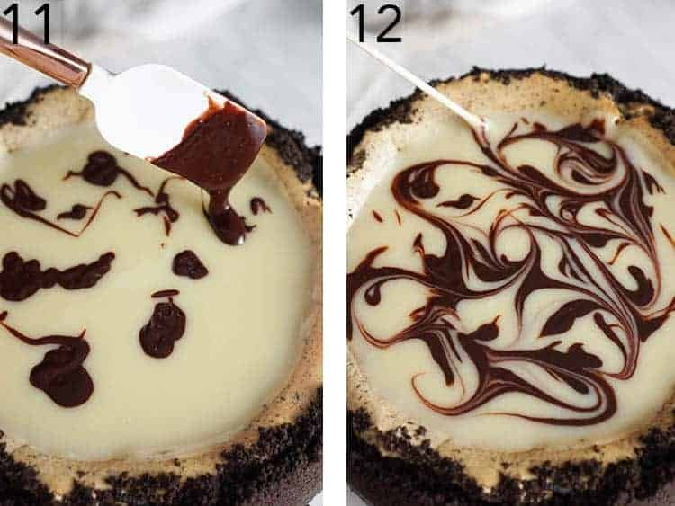 Chocolate getting swirled onto an Oreo Cheesecake