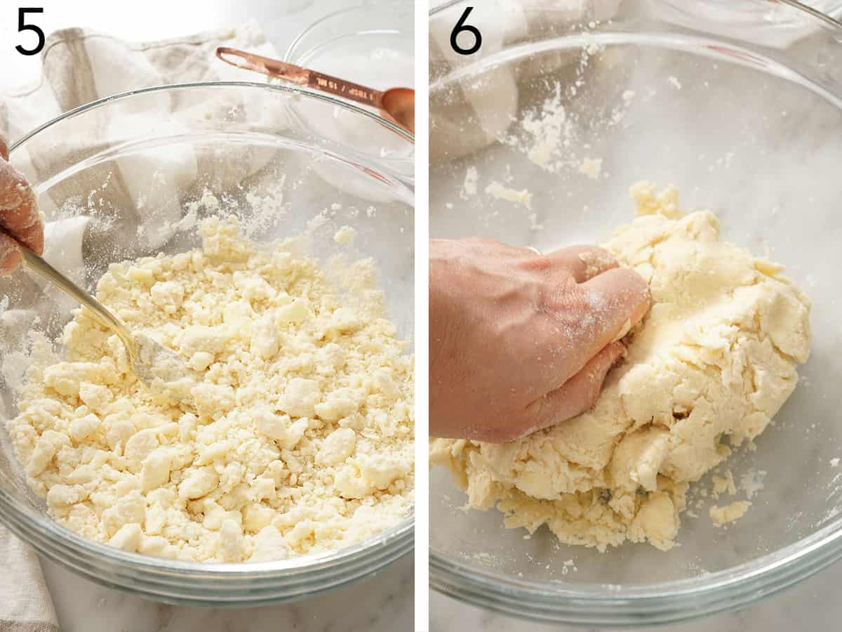 Pie dough getting kneaded in a glass bowl.