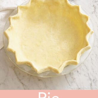 A pie crust ready to be baked.