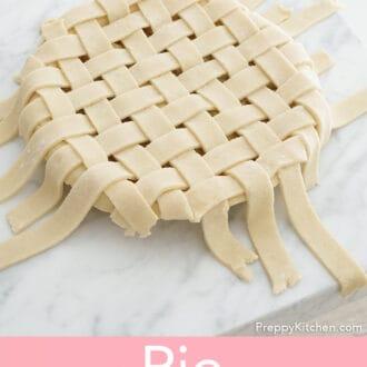 A pie crust wth a lattice top