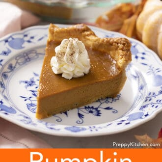 piece of pumpkin pie on a blue and white plate