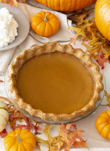 A pumpkin pie next to lots of mini pumpkins and a bowl of whipped cream.