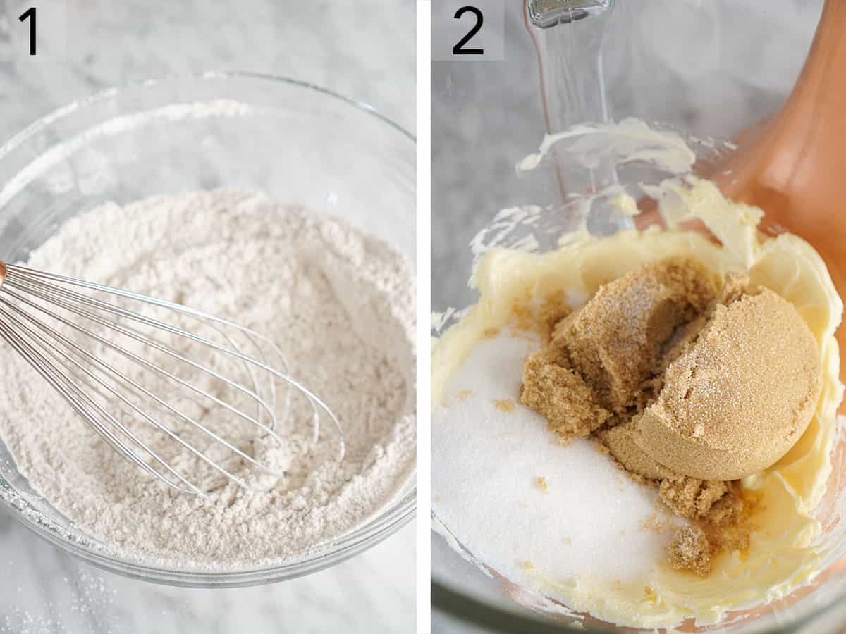 Two photos showing dry ingredients being whisked and sugars in a bowl with butter.