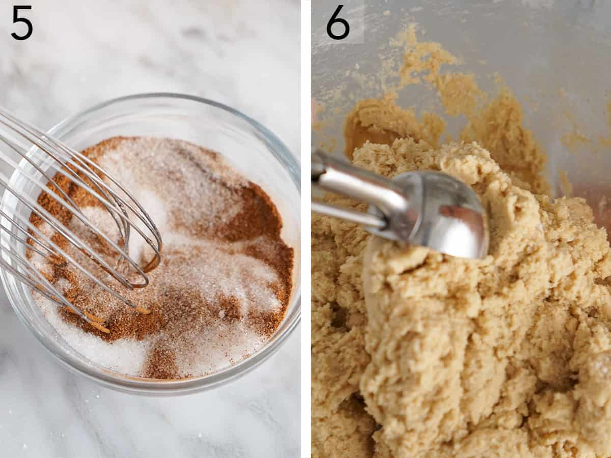 Dough getting scooped up and cinnamon sugar getting mixed.