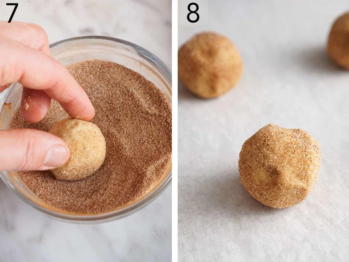 Balls of cookie dough getting rolled in cinnamon sugar