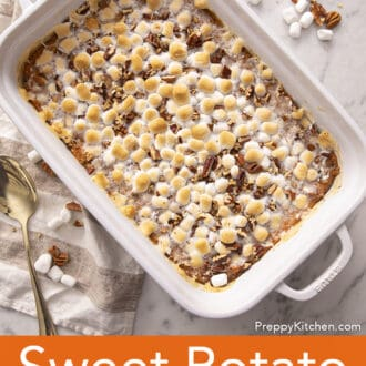 A Sweet Potato Casserole in a white baking dish.