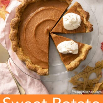 Sweet Potato Pie with two pieces topped with whipped cream.