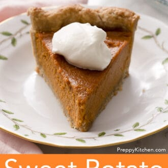 A piece of Sweet Potato Pie on a porcelain plate.A piece of Sweet Potato Pie with whipped cream on a porcelain plate.