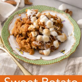 A portion of Sweet Potato Casserole on a green and white plate.