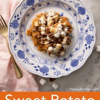 A top down shot of sweet potato casserole on a plate.