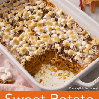Sweet potato casserole getting served from a baking dish.
