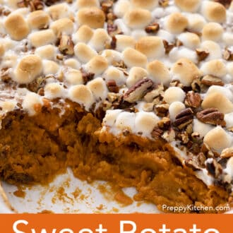 A Sweet Potato Casserole with marshmallows and pecans.