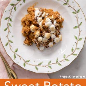 A portion of Sweet Potato Casserole on a porcelain plate.
