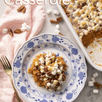 Sweet potato casserole with marshmallows and pecans.