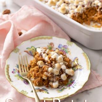 Homemade sweet potato casserole on a plate.