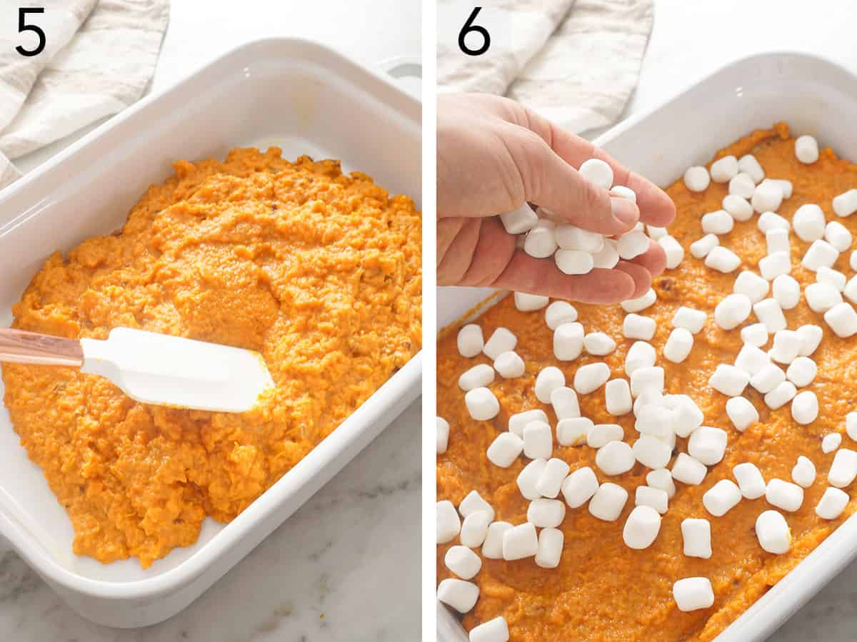 Sweet potato casserole getting topped with marshmallows before baking.