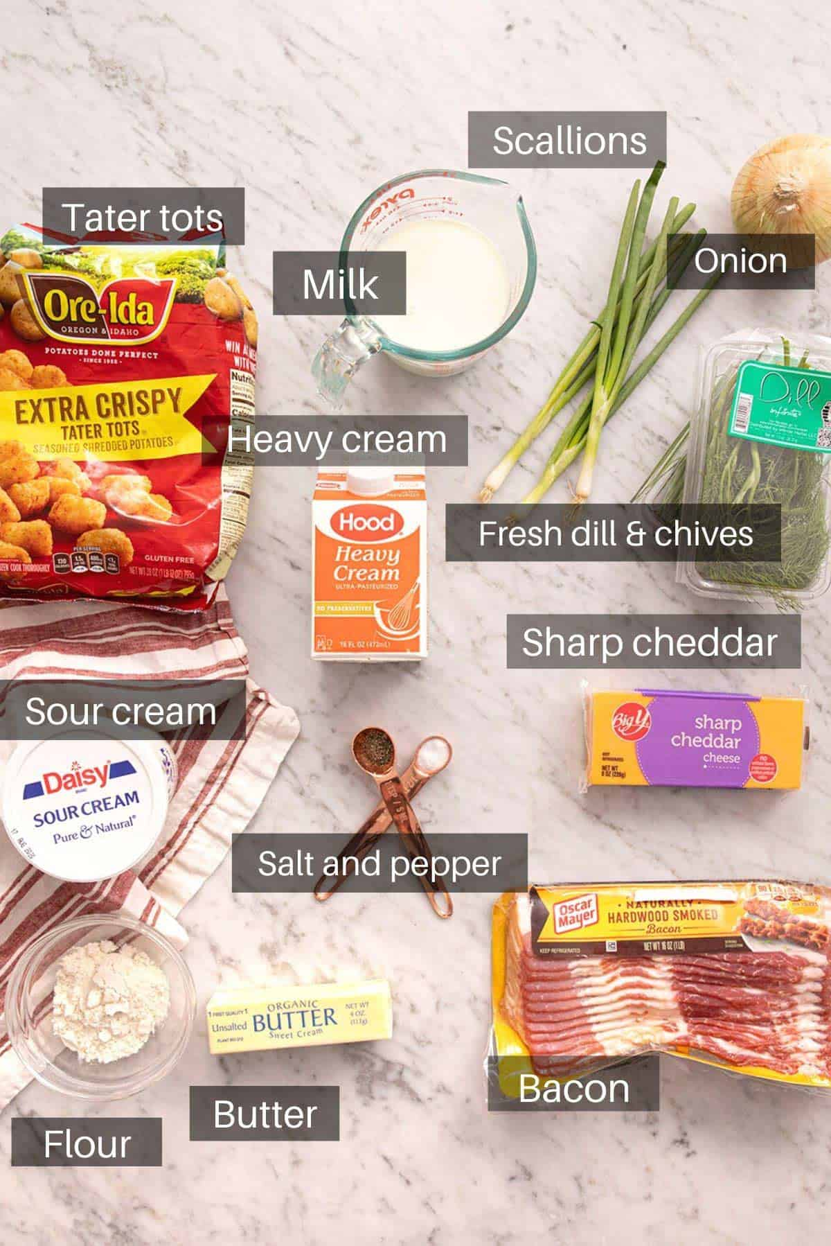 An overhead shot of all the ingredients you need to make tater tot casserole