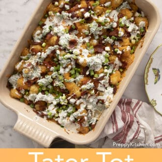A casserol dish filled with tater tot casserole.