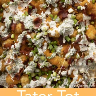 A closeup shot of a tater tot casserole with bacon..