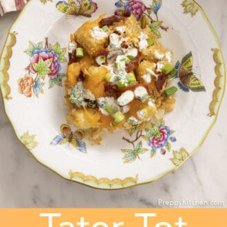 A portion of tater tot casserole on a porcelain plate.