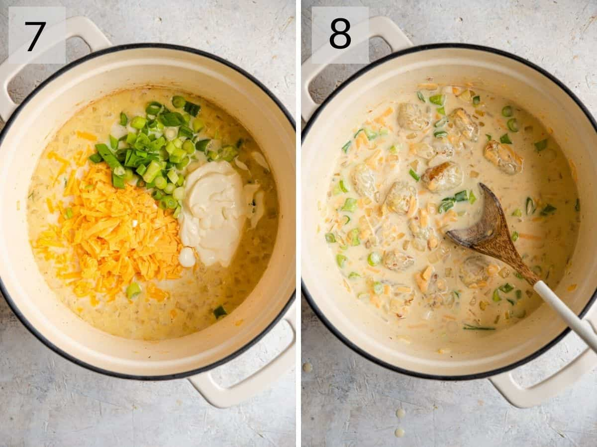 Two photos of the final stage of making a tater tot casserole