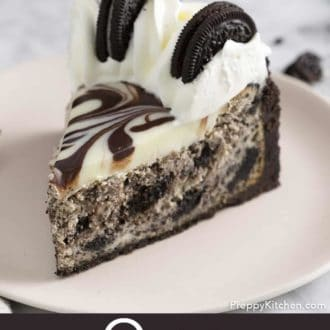 piece of oreo cheesecake on a plate