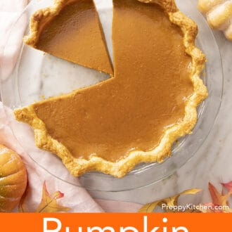 pumpkin pie in a glass pie dish