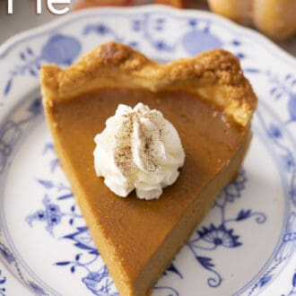 piece of pumpkin pie on a blue and white porcelain plate