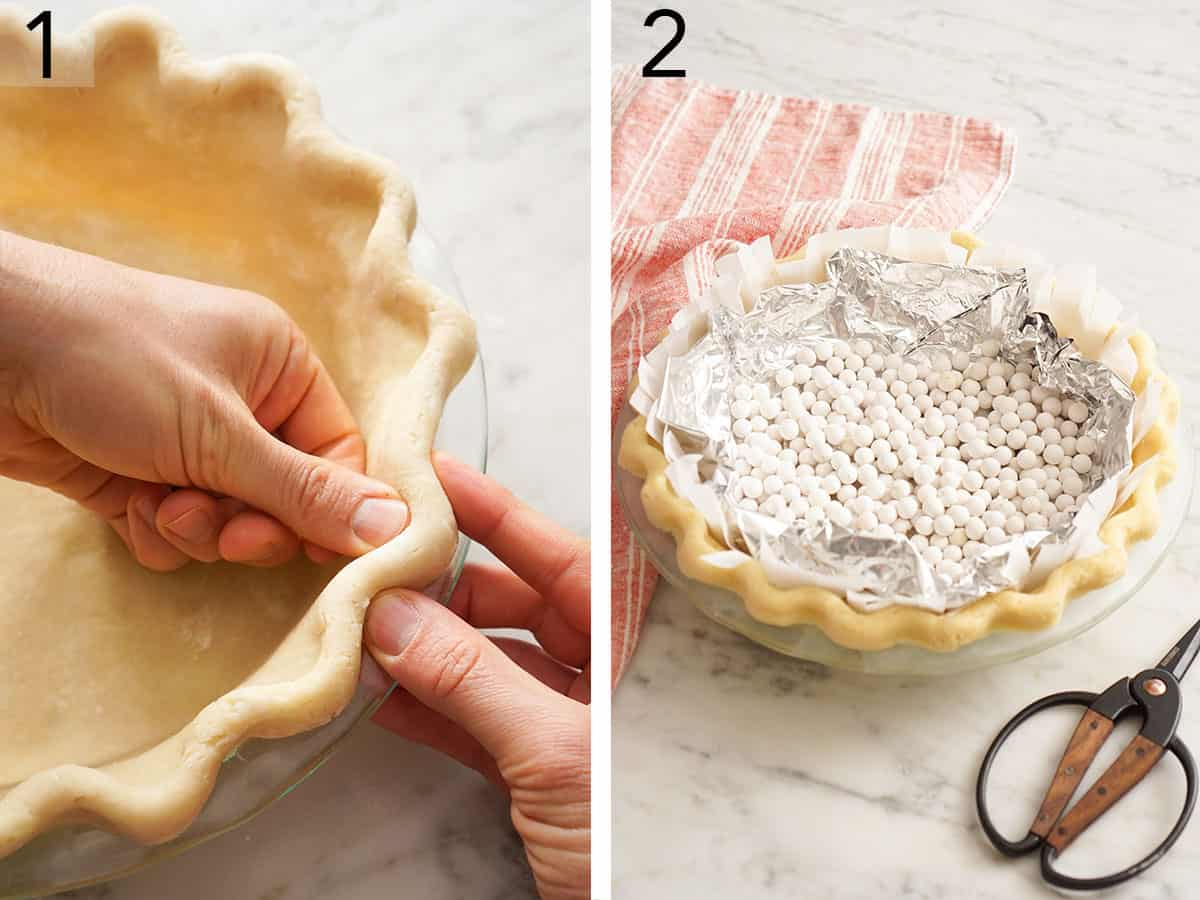 Pie crust getting pinched and blind baked.