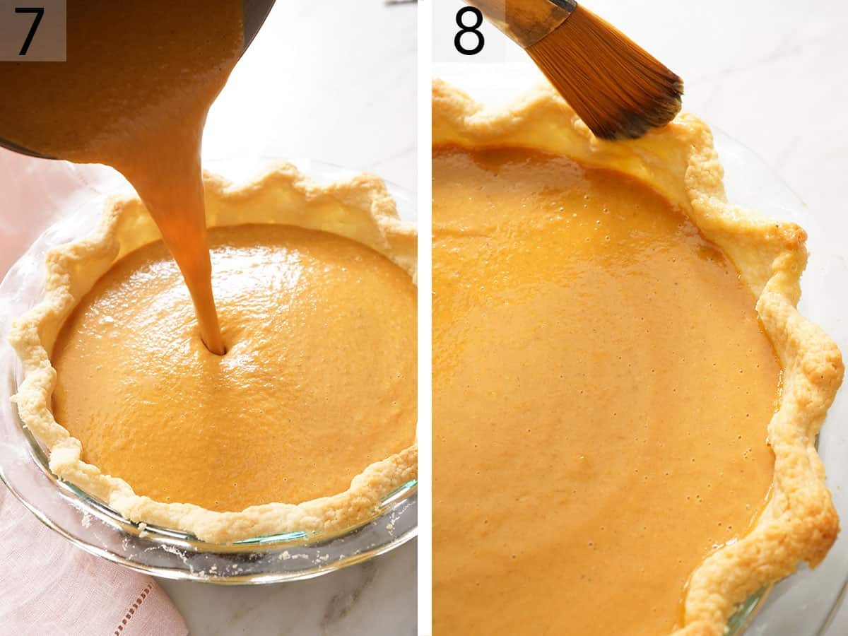 Pumpkin pie filling pouring into a blind baked crust.