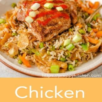 chicken fried rice in a bowl