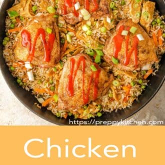 chicken fried rice in a pan