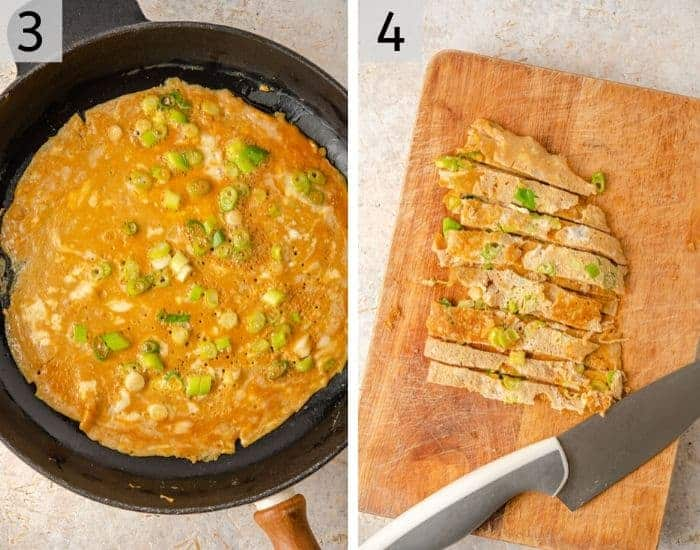 Two photos showing how to make an omelette