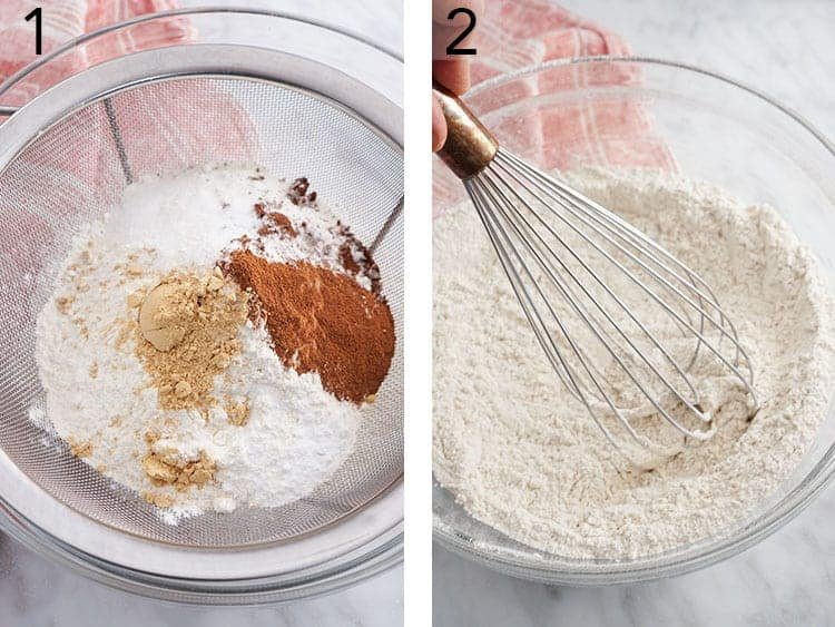 Dry ingredients for gingersnap cookies being whisked together in a large bowl.