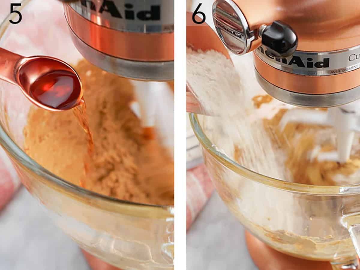 Gingersnap cookie dough getting mixed together in a large glass bowl.