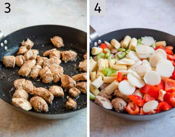 Two photos showing frying chicken and vegetables to make kung pao chicken