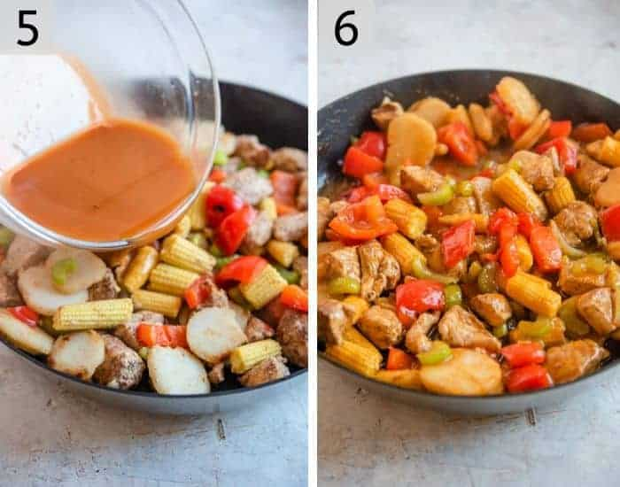 Two photos showing how to make kung pao chicken