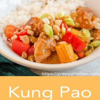 kung pao chicken in a white bowl