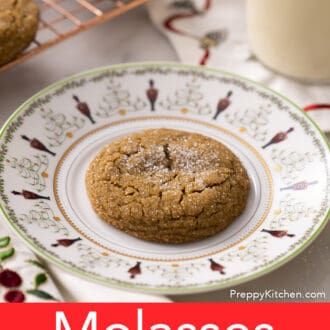 A Christmas plate with a molasses cookie