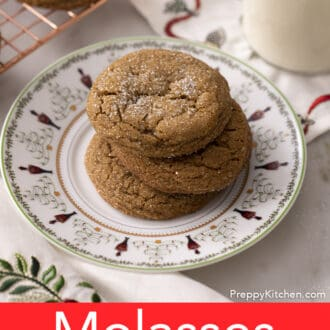 A Christmas plate of molasses cookies.