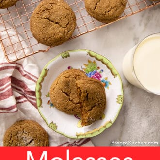 Molasses cookies next to a glass of milk.