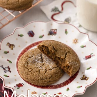 A broken molasses cookie on a holiday plate.