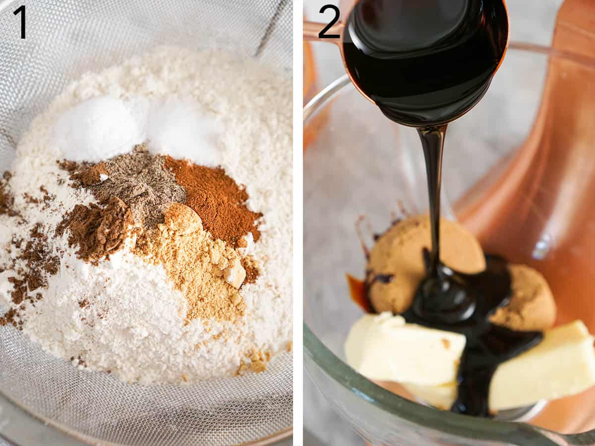 A sifter filled with flour and spices next to a bowl of butter sugar and molasses.