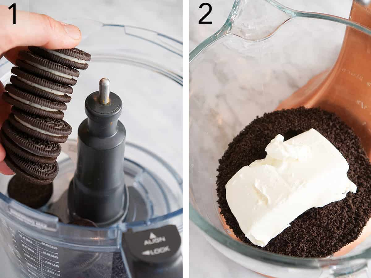 Two photos showing Oreos being crushed and mixed with cream cheese.