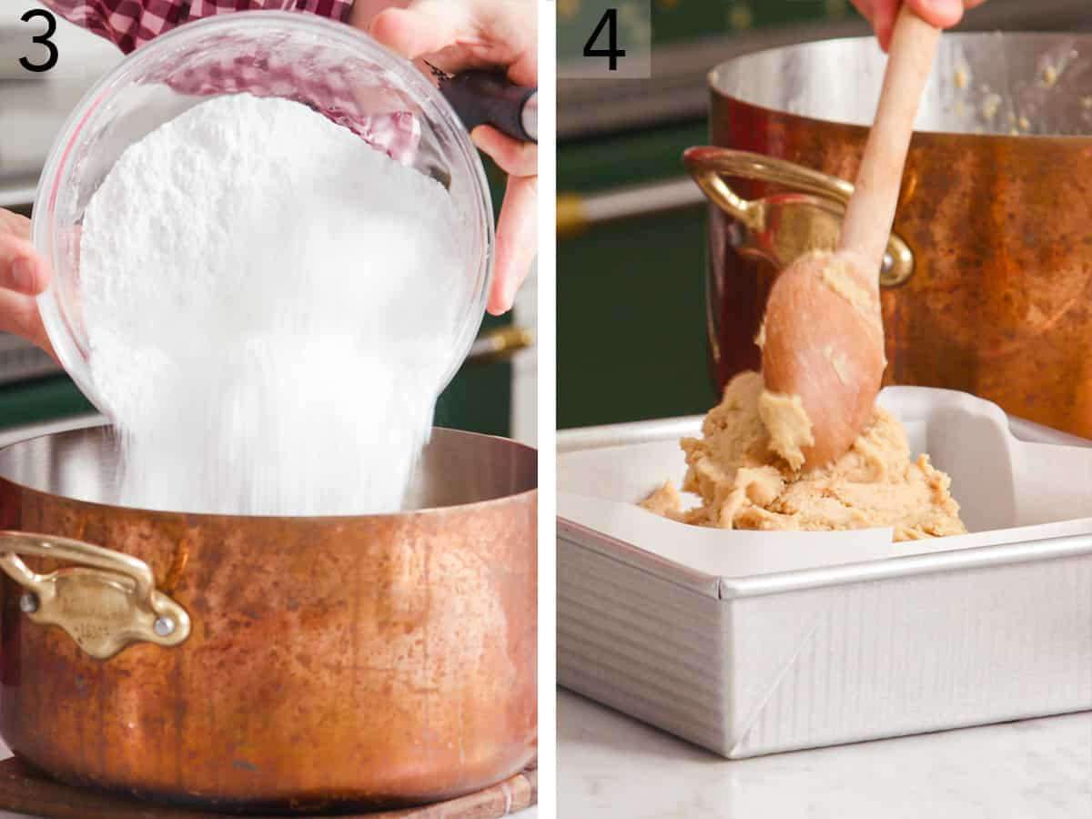 Powdered sugar getting dumped into a pot to make peanut butter fudge.