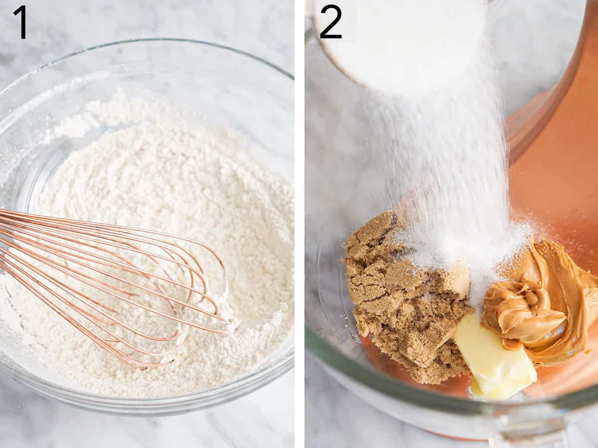 Two photos showing dry ingredients being whisked and sugar getting added to butter.