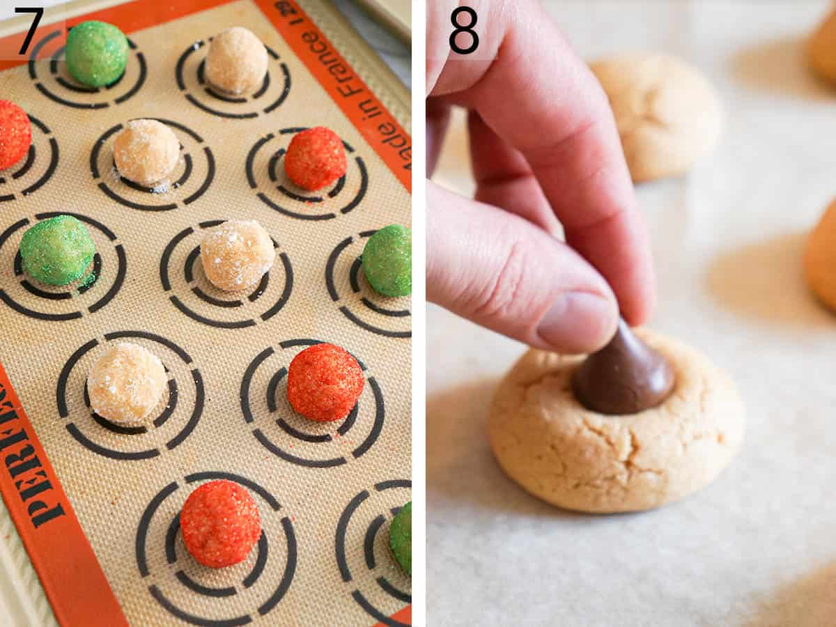 Peanut Butter Blossoms on a cookie sheet before baking.